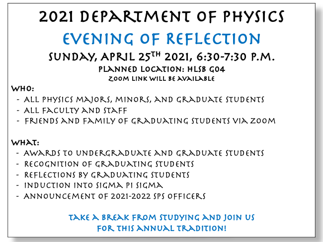 2021 Evening of Reflection Flyer